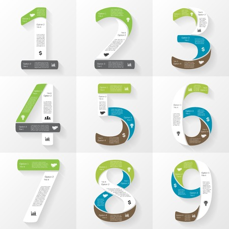 3 4: Vector font infographic, diagram, presentation. Numbers 1, 2, 3, 4, 5, 6, 7, 8, 9. Business concept with options, parts, steps or processes.