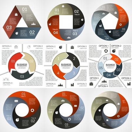 벡터 원 인포 그래픽. 도표, 그래프, 프리젠 테이션 및 차트 템플릿. 3, 4, 5 옵션, 부품, 단계 또는 프로세스와 비즈니스 개념. 추상적 인 배경입니다.