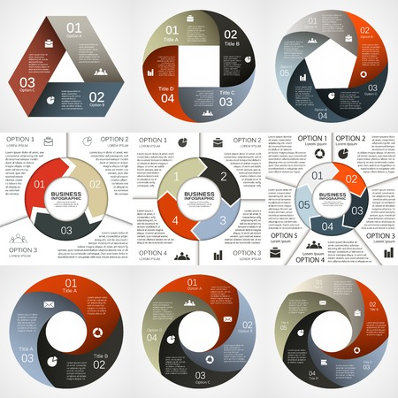 Vector circle infographic. Template for diagram, graph, presentation and chart. Business concept with 3, 4, 5 options, parts, steps or processes. Abstract background.