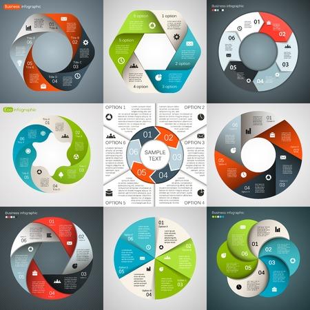 벡터 원 인포 그래픽. 다이어그램, 그래프, 프리젠 테이션 및 차트 템플릿. 6 옵션, 부품, 단계 또는 프로세스와 비즈니스 개념입니다. 추상적 인 배경입
