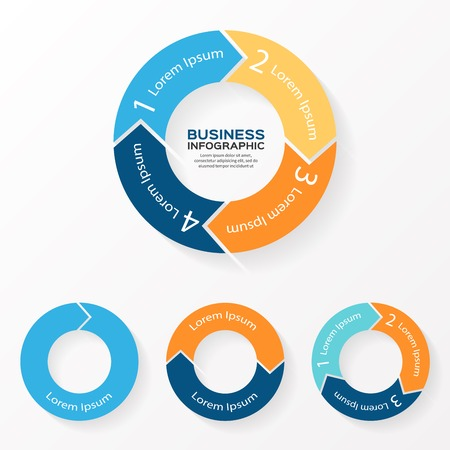 Vector circle arrows infographic. Template for diagram, graph, presentation and chart. Business concept with 1, 2, 3, 4 options, parts, steps or processes. Abstract background.