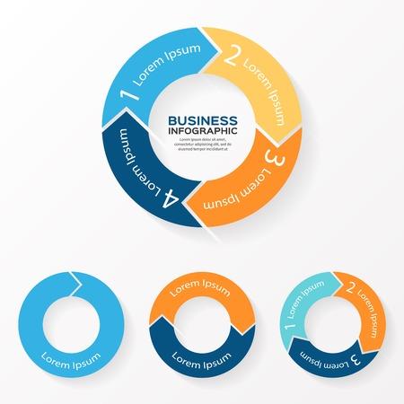 Vector cirkel pijlen infographic. Sjabloon voor het diagram, grafiek, presentatie en grafiek. Zakelijk concept met 1, 2, 3, 4 opties, delen, stappen of processen. Abstracte achtergrond.