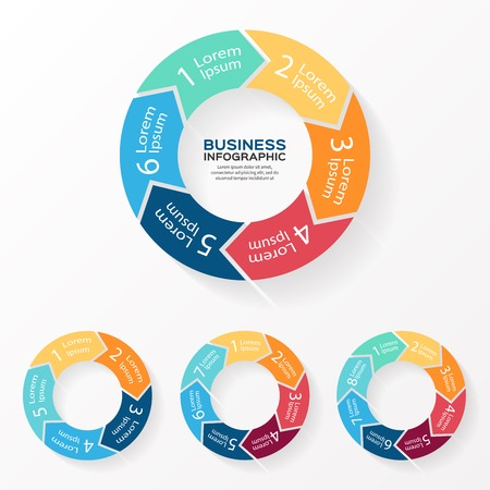 6 7: Vector circle arrows infographic. Template for diagram, graph, presentation and chart. Business concept with 5, 6, 7, 8 options, parts, steps or processes. Abstract background.