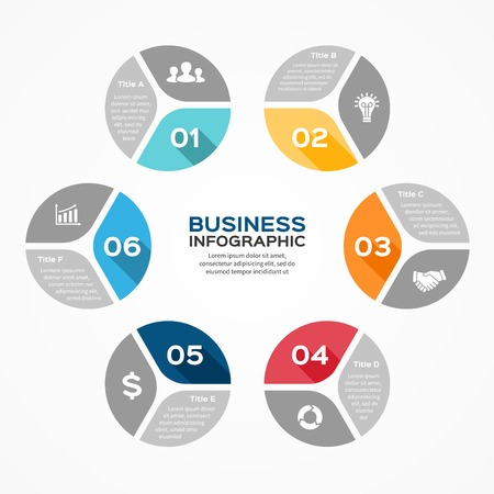 Vector circle infographic. Template for diagram, graph, presentation and chart. Business concept with 6 options, parts, steps or processes. Abstract background. Vector