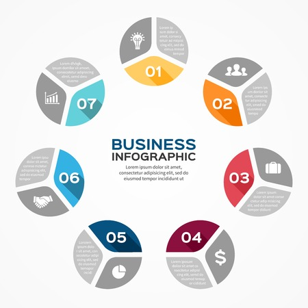 Vector circle infographic. Template for diagram, graph, presentation and chart. Business concept with 7 options, parts, steps or processes. Abstract background. Vector