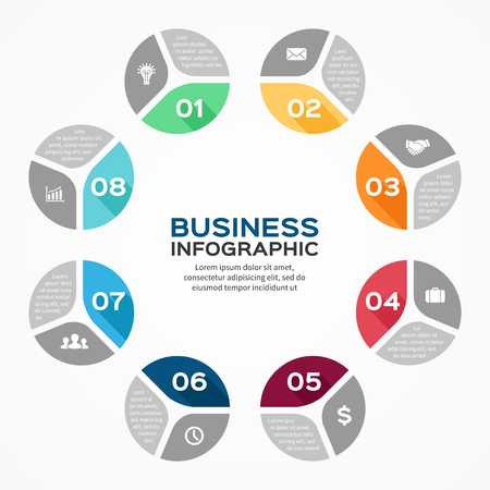 Vector circle infographic. Template for diagram, graph, presentation and chart. Business concept with 8 options, parts, steps or processes. Abstract background. Vector