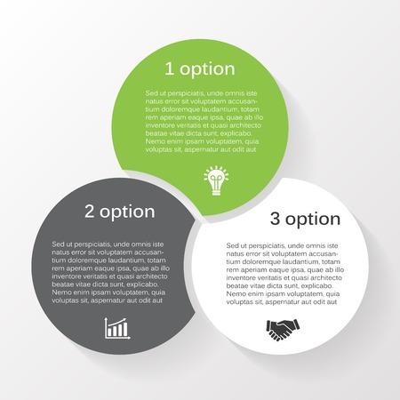 Vecteur cercle infographique. Modèle de diagramme, graphique, présentation et graphique. Concept d'entreprise avec 3 options, pièces, étapes ou processus. Résumé historique Banque d'images - 32161422