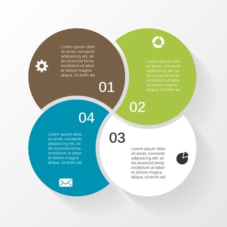 벡터 원 인포 그래픽. 도표, 그래프, 프리젠 테이션 및 차트 템플릿. 4 옵션, 부품, 단계 또는 프로세스와 비즈니스 개념. 추상적 인 배경입니다.