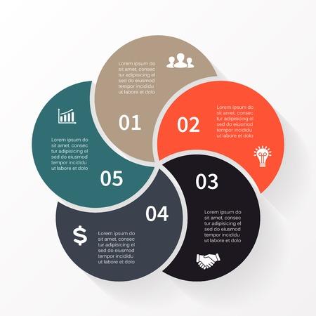 벡터 원 인포 그래픽. 도표, 그래프, 프리젠 테이션 및 차트 템플릿. 5 옵션, 부품, 단계 또는 프로세스와 비즈니스 개념입니다. 추상적 인 배경입니다.