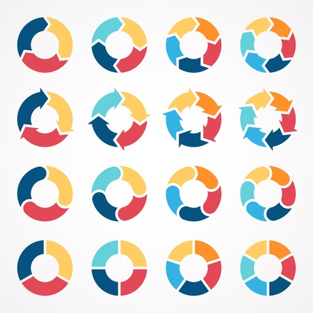 Vector circle arrows set for infographic. Template for diagram, graph, presentation and chart. Business concept with 3, 4, 5, 6 options, parts, steps or processes. Abstract background. Vettoriali