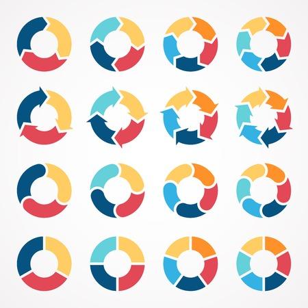 par: Setas círculo Vector definido para infográfico. Molde para o diagrama, gráfico, apresentação e gráfico. Conceito do negócio com 3, 4, 5, 6 opções, peças, etapas ou processos. Fundo abstrato.