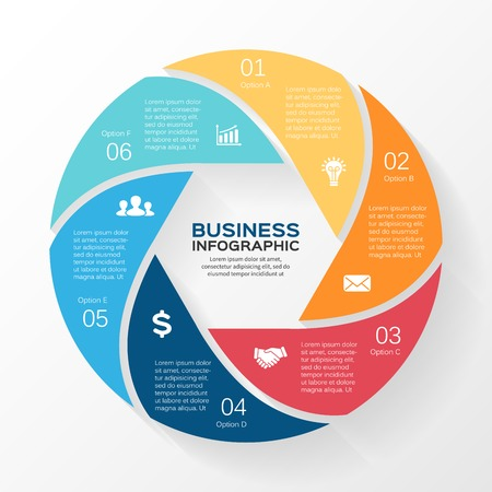 Vector circle infographic. Template for diagram, graph, presentation and chart. Business concept with 6 options, parts, steps or processes. Abstract background. Reklamní fotografie - 32161435