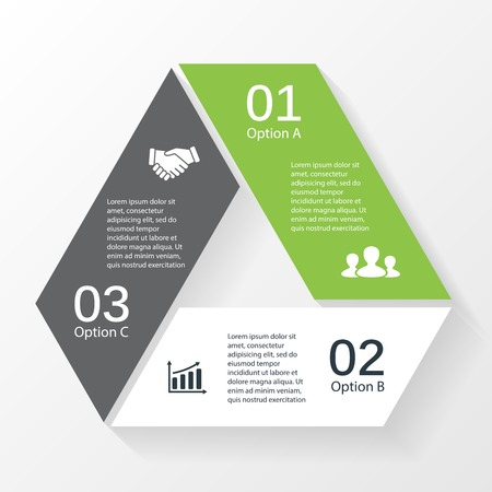 Vector triangle infographic. Template for diagram, graph, presentation and chart. Business concept with 3 options, parts, steps or processes. Abstract background. Vector