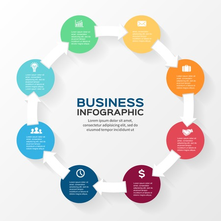 business abstract: Vector circle arrows infographic. Template for diagram, graph, presentation and chart. Business concept with 8 options, parts, steps or processes. Abstract background.