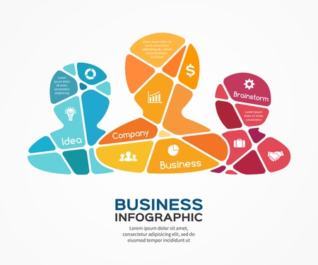 convergence: Social vector business teamwork infographic.  Illustration