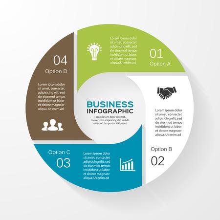 Vector cirkel infographic. Sjabloon voor het diagram, grafiek, presentatie en grafiek. Zakelijk concept met 4 opties, delen, stappen of processen. Abstracte achtergrond. Stock Illustratie