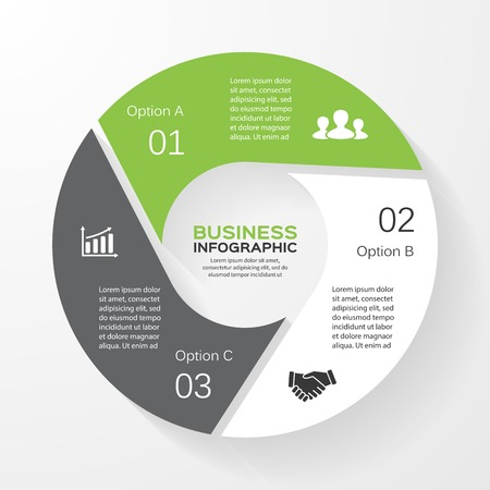 three: Vector circle infographic. Template for diagram, graph, presentation and chart. Business concept with 3 options, parts, steps or processes. Abstract background.