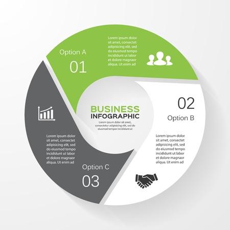 Vector cirkel infographic. Sjabloon voor het diagram, grafiek, presentatie en grafiek. Zakelijk concept met 3 opties, delen, stappen of processen. Abstracte achtergrond. Stock Illustratie