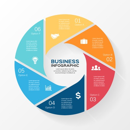 chart vector: Vector circle infographic. Template for diagram, graph, presentation and chart. Business concept with 6 options, parts, steps or processes. Abstract background. Illustration