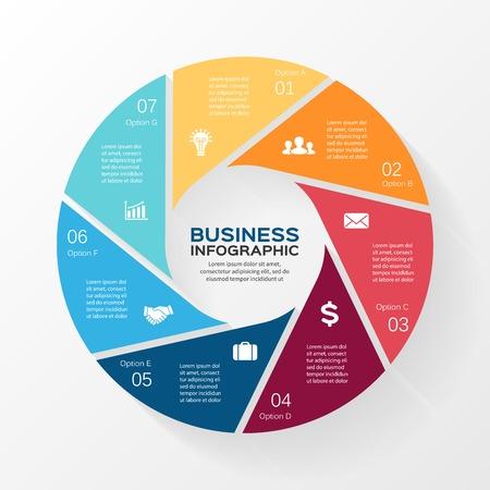 벡터 원 인포 그래픽. 도표, 그래프, 프리젠 테이션 및 차트 템플릿. 7 옵션, 부품, 단계 또는 프로세스와 비즈니스 개념입니다. 추상적 인 배경입니다.