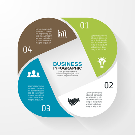 Vector circle infographic. Template for diagram, graph, presentation and chart. Business concept with 4 options, parts, steps or processes. Abstract background. Vector