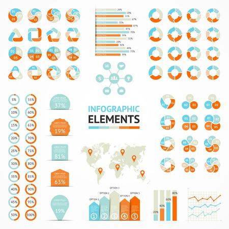 par: Vector elementos infográfico definido. Modelos para diagrama, gráfico, apresentação e gráfico. Conceitos de negócios com 3, 4, 5, 6 opções, peças, etapas ou processos.