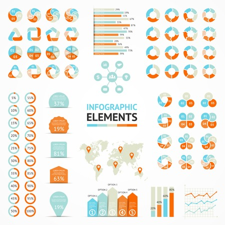Vector infographic elements set. Templates for diagram, graph, presentation and chart. Business concepts with 3, 4, 5, 6 options, parts, steps or processes.