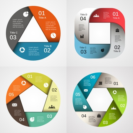Vector circle infographic. Template for diagram, graph, presentation and chart. Business concept with 3, 4, 5, 6, options, parts, steps or processes. Abstract background. Vector