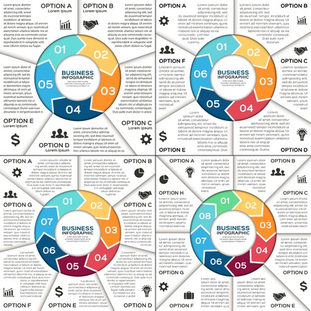 6 7: Vector circle infographic. Template for diagram, graph, presentation and chart. Business concept with 5, 6, 7, 8 options, parts, steps or processes. Abstract background. Illustration