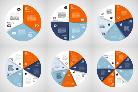 6 7: Vector circle infographics set. Template for diagram, graph, presentation and chart. Business concept with 3, 4, 5, 6, 7, 8 options, parts, steps or processes. Abstract background.