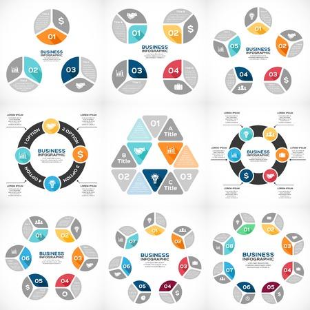 diagrama: Infografía vector círculo establecen. Plantilla de diagrama, gráfico, presentación y gráfico. Concepto de negocio con 3, 4, 5, 6, 7, 8 opciones, piezas, pasos o procesos. Resumen de fondo.