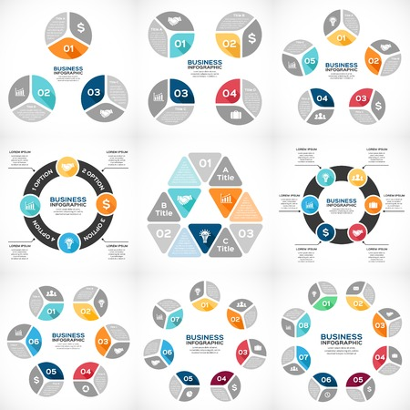 six: Vector circle infographics set. Template for diagram, graph, presentation and chart. Business concept with 3, 4, 5, 6, 7, 8 options, parts, steps or processes. Abstract background.
