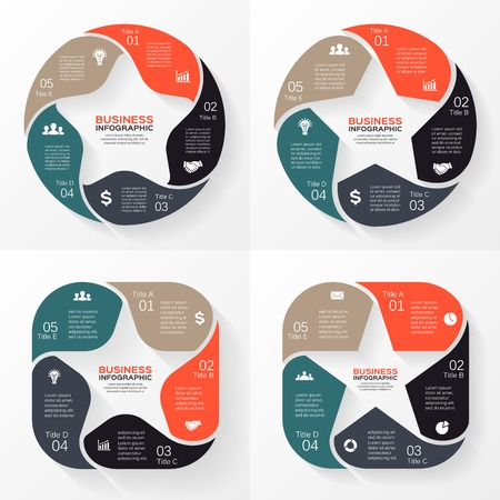 five stars: Vector circle star infographic. Template for diagram, graph, presentation and chart. Business concept with 5 options, parts, steps or processes. Abstract background.