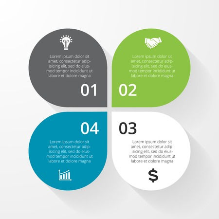 Vector circle infographic. Template for diagram, graph, presentation and chart. Business concept with 4, options, parts, steps or processes. Abstract background. Vector