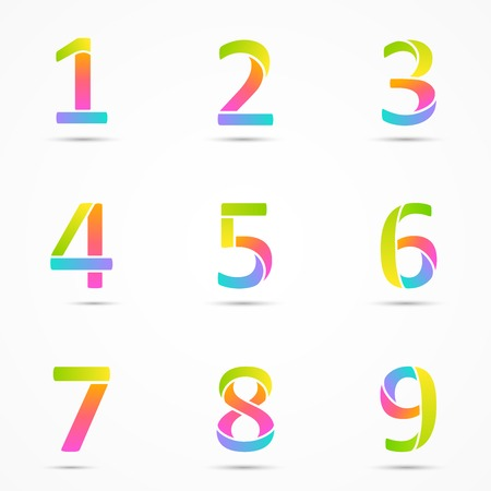 numbers 1, 2, 3, 4, 5, 6, 7, 8, 9 company vector design templates set. Vector