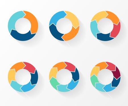 3, 4, 5, 6, 7, 8 cirkel pijlen voor infographic, diagram, grafiek, presentatie en grafiek. Zakelijk concept met opties, delen, stappen of processen. Stock Illustratie