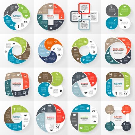 벡터 원 인포 그래픽. 도표, 그래프, 프리젠 테이션 및 차트 템플릿. 옵션, 부품, 단계 또는 프로세스와 비즈니스 개념입니다. 추상적 인 배경입니다.