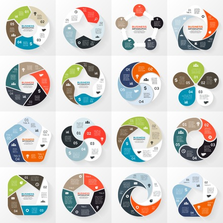 circle arrows ribbons infographics set Template for diagram, graph, presentation and chart Ilustração