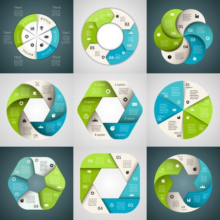 circle arrows ribbons infographics set Template for diagram, graph, presentation and chart Vector