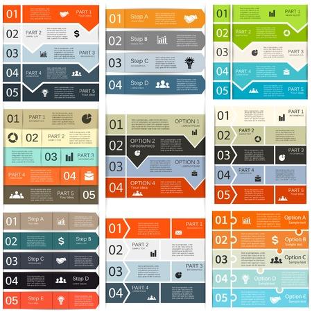 diagrama: Líneas flechas infografía conjunto de plantillas de diagrama, gráfico, la presentación y el gráfico Vectores
