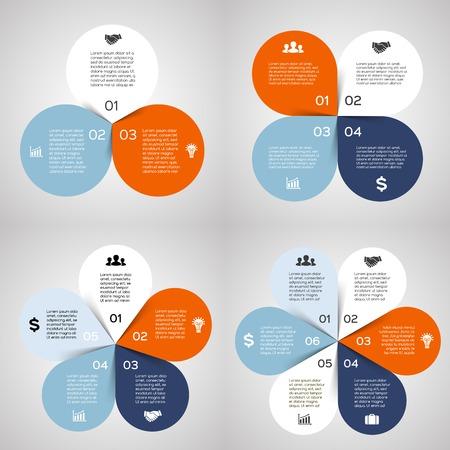 벡터 원 인포 그래픽 설정합니다. 도표, 그래프, 프리젠 테이션 및 차트 템플릿. 3, 4, 5, 6, 옵션, 부품 또는 단계와 비즈니스 프로세스 개념이다. 추상적  일러스트