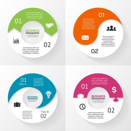 벡터 원 infographics입니다 설정합니다. 도표, 그래프, 프리젠 테이션 및 차트 템플릿입니다. 2 옵션, 부품, 단계 또는 프로세스와 비즈니스 개념입니다.  일러스트