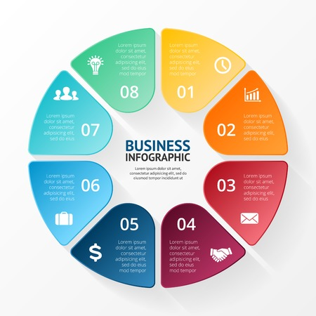 part: Vector circle infographic. Template for diagram, graph, presentation and chart. Business concept with 8 options, parts, steps or processes. Abstract background.