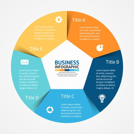 Circle: Vector circle infographic. Template for diagram, graph, presentation and chart. Business concept with 5 options, parts, steps or processes. Abstract background.