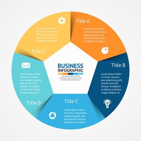 Vector cirkel infographic. Sjabloon voor het diagram, grafiek, presentatie en grafiek. Zakelijk concept met 5 opties, delen, stappen of processen. Abstracte achtergrond. Stock Illustratie