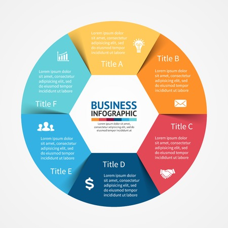 Vector circle infographic. Template for diagram, graph, presentation and chart. Business concept with 6 options, parts, steps or processes. Abstract background. 矢量图像