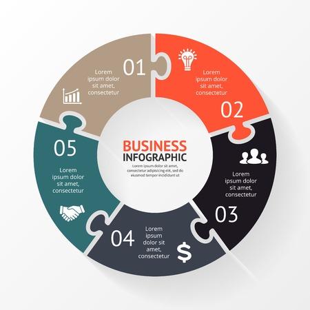 schema: Vector cerchio puzzle di infografica. Modello per schema, grafico, presentazione e grafico. Concetto di business con 5 opzioni, parti, passi o processi. Sfondo astratto. Vettoriali