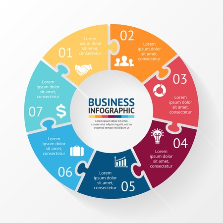 Vector circle puzzle infographic. Template for diagram, graph, presentation and chart. Business concept with 7 options, parts, steps or processes. Abstract background. Stock Illustratie