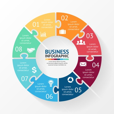 Vector círculo infografía rompecabezas. Plantilla para el diagrama, gráfico, presentación y gráfico. Concepto de negocio con 8 opciones, partes, etapas o procesos. Resumen de antecedentes.