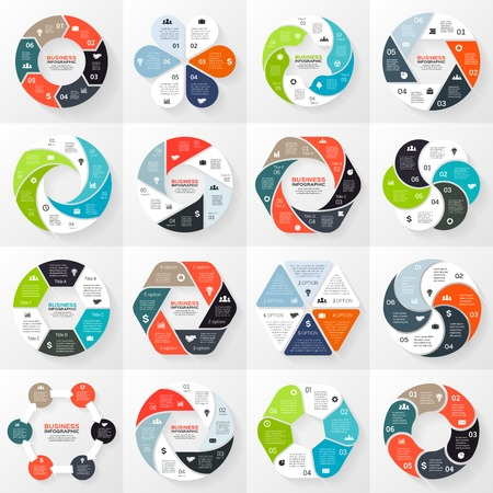Vector circle infographics set. Template for diagram, graph, presentation and chart. Business concept with 6 options, parts, steps or processes. Abstract background. Vettoriali
